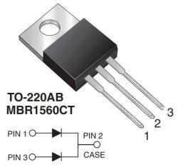 画像2: カソードコモンショットキーダイオード MBR1560CT 60V 15A 2個