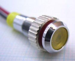 画像1: 黃色 発光ダイオード(LED) パネル取り付け用 抵抗内蔵 直径6mm